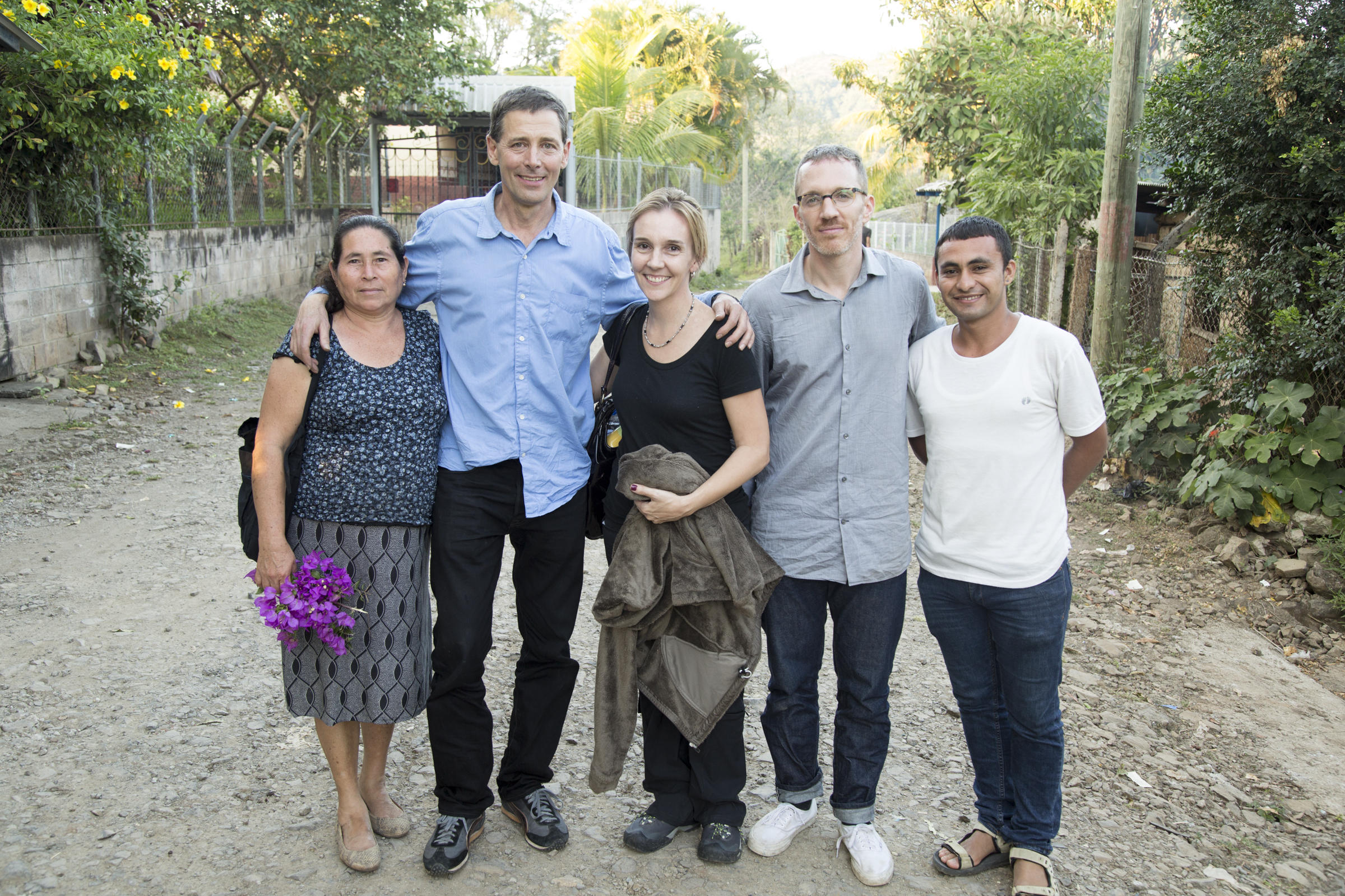 From left to right, Dora Leiva, Philippe Bourgois, Angelina Snodgrass Godoy, Alex Montalvo, and Peter Nataren following a visit to the Santa Cruz massacre site. (Photo: Keny Sibrian)